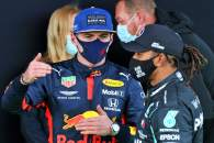 (L to R): Max Verstappen (NLD) Red Bull Racing with Lewis Hamilton (GBR) Mercedes AMG F1 in parc ferme.