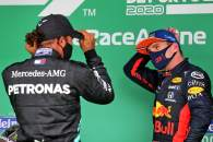 (L to R): Race winner Lewis Hamilton (GBR) Mercedes AMG F1 in parc ferme with Max Verstappen (NLD) Red Bull Racing.
