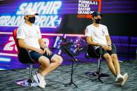 (L to R): Valtteri Bottas (FIN) Mercedes AMG F1 and team mate George Russell (GBR) Mercedes AMG F1 in the FIA Press Conference.