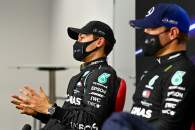 (L to R): George Russell (GBR) Mercedes AMG F1 with team mate Valtteri Bottas (FIN) Mercedes AMG F1 in the post qualifying FIA Press Conference.