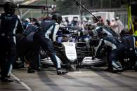 George Russell (GBR) Williams Racing FW43B makes a pit stop.