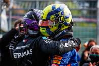 (L to R): Lewis Hamilton (GBR) Mercedes AMG F1 celebrates his second position with third placed Lando Norris (GBR) McLaren in parc ferme.