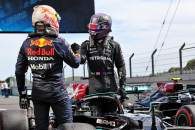 Race winner Lewis Hamilton (GBR) Mercedes AMG F1 W12 celebrates in parc ferme with second placed Max Verstappen (NLD) Red Bull Racing.