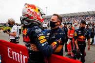 (L to R): Race winner Max Verstappen (NLD) Red Bull Racing celebrates with Christian Horner (GBR) Red Bull Racing Team Principal in parc ferme.