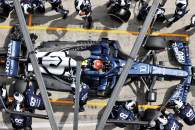 Pierre Gasly (FRA) AlphaTauri AT02 makes a pit stop with damaged rear suspension.