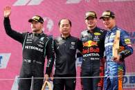 1st place Max Verstappen (NLD) Red Bull Racing RB16B, 2nd place Valtteri Bottas (FIN) Mercedes AMG F1 W12, 3rd place Lando Norris (GBR) McLaren MCL35M with Toyoharu Tanabe (JPN) Honda Racing F1 Technical Director.