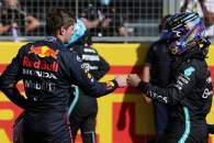 Max Verstappen (NLD) Red Bull Racing and Lewis Hamilton (GBR) Mercedes AMG F1.