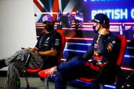 (L to R): Lewis Hamilton (GBR) Mercedes AMG F1 and Max Verstappen (NLD) Red Bull Racing in the post Sprint Qualifying FIA Press Conference.