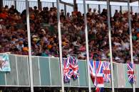 Circuit atmosphere - fans in the grandstand.