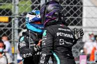 Lewis Hamilton (GBR) Mercedes AMG F1 celebrates his pole position in qualifying parc ferme with second placed team mate Valtteri Bottas (FIN) Mercedes AMG F1.