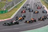 Lewis Hamilton (GBR) Mercedes AMG F1 W12 leads at the start of the race as Valtteri Bottas (FIN) Mercedes AMG F1 W12 crashes into the back of Lando Norris (GBR) McLaren MCL35M.
