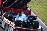 The Williams Racing FW43B of Nicholas Latifi (CDN) is recovered back to the pits on the back of a truck after he crashed during qualifying.
