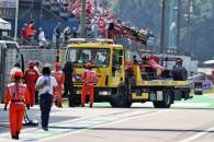 The Ferrari SF-21 of Carlos Sainz Jr (ESP) is recovered back to the pits on the back of a truck after he crashed in the second practice session.