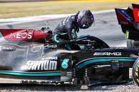 Lewis Hamilton (GBR) Mercedes AMG F1 W12 after he crashed with Max Verstappen (NLD) Red Bull Racing at the first chicane.