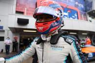 George Russell (GBR) Williams Racing FW43B celebrates 3rd position in qualifying parc ferme.