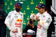 (L to R): Max Verstappen (NLD) Red Bull Racing with team mate Sergio Perez (MEX) Red Bull Racing in parc ferme.