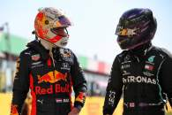 (L to R): Max Verstappen (NLD) Red Bull Racing with Lewis Hamilton (GBR) Mercedes AMG F1 in qual