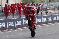 Jack Miller chequered flag, French MotoGP race, 16 May 2021